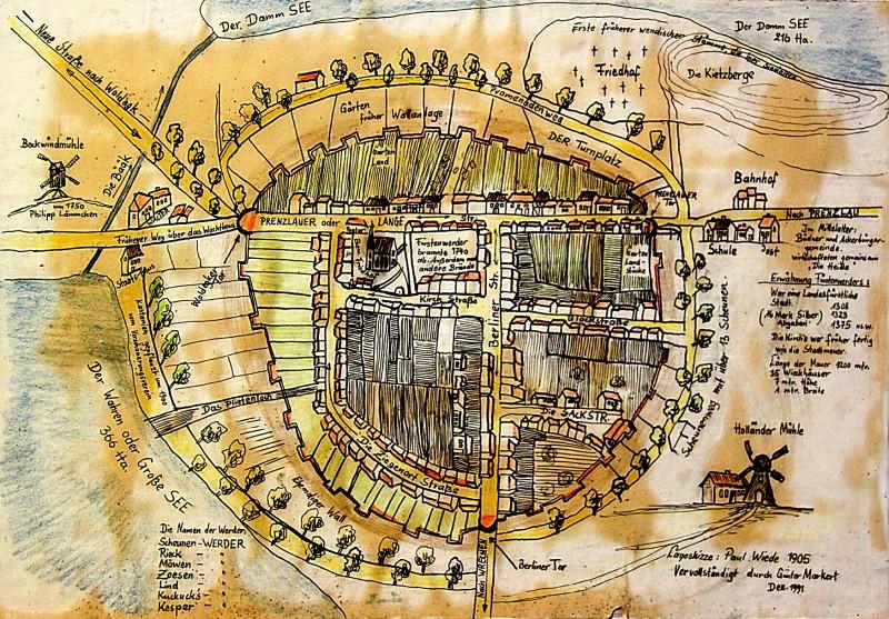 Stadtplan-Skizze Fürstenwerder von 1905