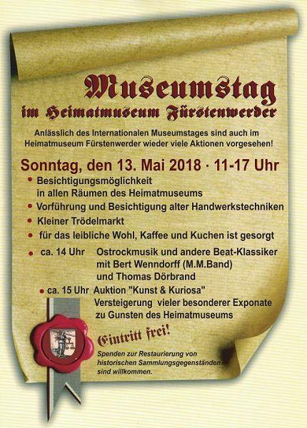 Plakat zum Museumstag 2018 in Fürstenwerder