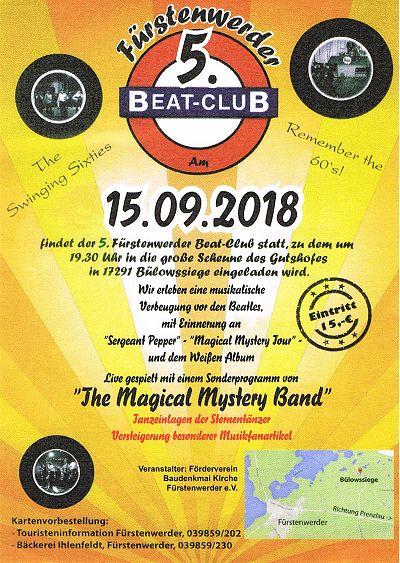 Plakat zum 4. Beat Club 2017 in Fürstenwerder