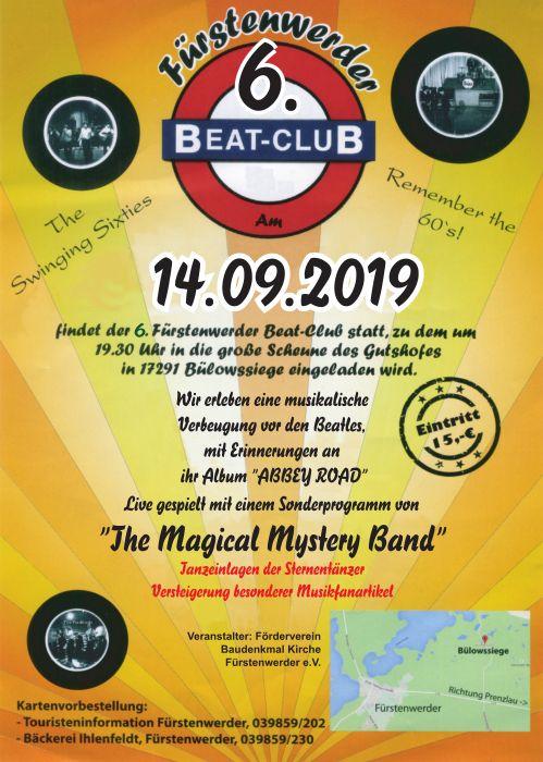 Plakat zum 6. Beat Club 2019 in Fürstenwerder