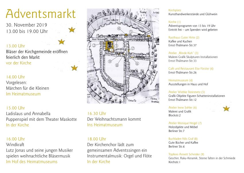 Adventsmarkt Fürstenwerder Programm