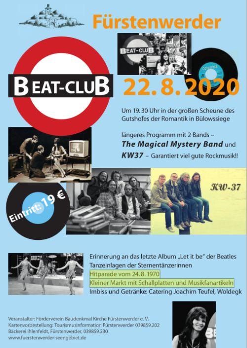 Plakat zum 7. Beat Club 2020 in Fürstenwerder