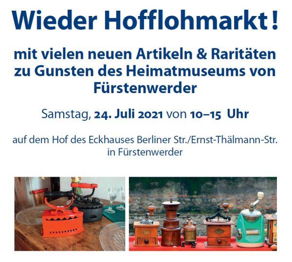 Plakat zum Hofflohmarkt im Juli 2021