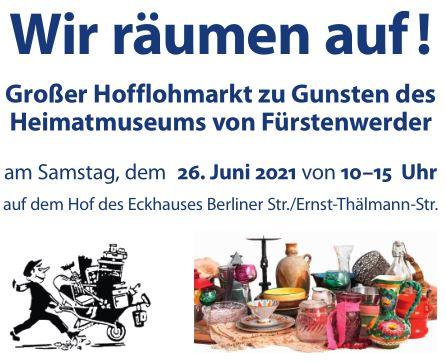 Plakat zum Hofflohmarkt im Juni 2021